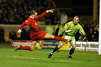 BRUNO CHEYROU LIVERPOOL SCORES 1ST GOAL PAST MICHAEL OAKES WOLVES<br />