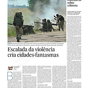 "Tearsheet of ""Ukraine: escalada de violence cria cidades-fantasmas"" published in Expresso"