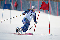 """Sara Godek skis on her """"home turf"""" during the Classic race at the US Telemark Championships Friday morning at Gunstock Mountain Resort.    (Karen Bobotas/for the Laconia Daily Sun)"""