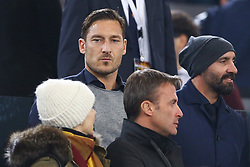 November 18, 2017 - Rome, Italy - Francesco Totti former Roma player on the stands during the Italian Serie A football match AS Roma vs Lazio on November 18, 2017 at the Olympic stadium in Rome. (Credit Image: © Matteo Ciambelli/NurPhoto via ZUMA Press)