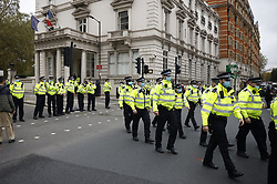 © Licensed to London News Pictures. 30/10/2020. London, UK. Police guard the French Embassy in central London after an earlier a pro Islam rally gathered outside. Photo credit: Peter Macdiarmid/LNP