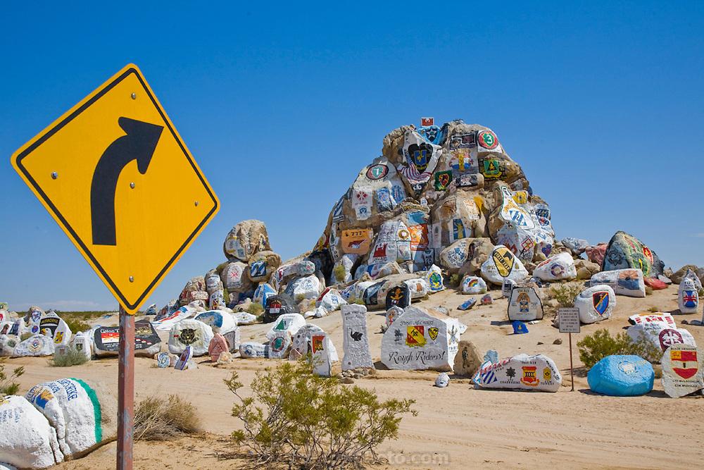 Painted rocks in California's Mojave Desert, near the military training center at Fort Irwin.