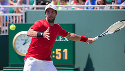 March 26, 2018 - Miami, Florida, United States - Fernando Verdasco, from Spain, in action against Thanasi Kokkinakis, from Australia, during his third round match at the Miami Open. Verdasco defeated Kokkinakis 3-6, 6-4, 7-6(4) in Key Biscayne, on March 26, 2018. (Credit Image: © Manuel Mazzanti/NurPhoto via ZUMA Press)