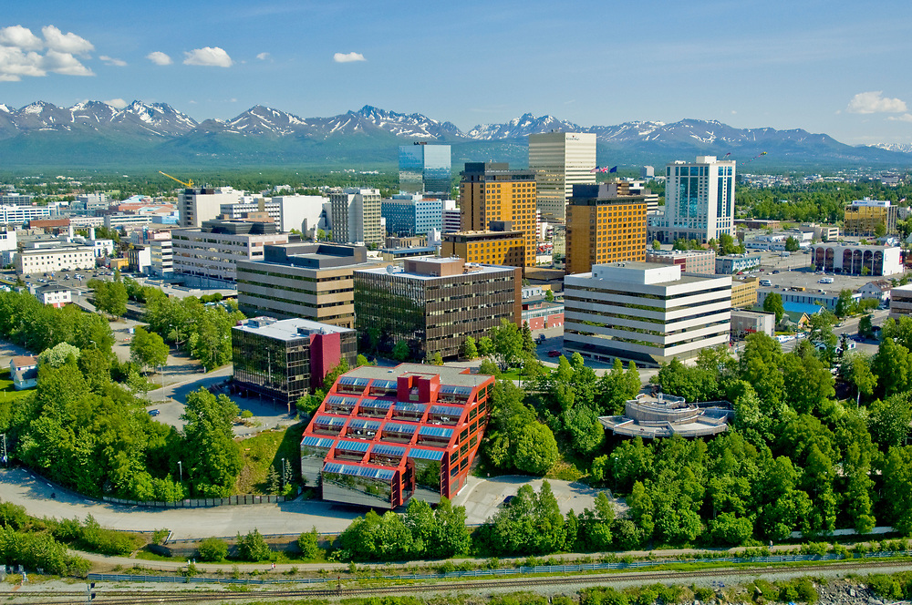 Alaska. Anchorage. Downtown summer aerials.