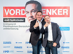 25.09.2017, Bundespartei, Wien, AUT, FPÖ, Präsentation der dritten Plakatwelle zur Nationalratswahl 2017. im Bild v.l.n.r. FPÖ Bundesparteivorsitzender und Spitzenkandidat für die Nationalratswahl Heinz-Christian Strache und FPÖ Generalsekretär und Nationalratsabgeordneter Herbert Kickl // f.l.t.r. Leader of the parliamentary group FPOe Heinz Christian Strache and Member of Parliament FPOe Herbert Kickl during media conference of the austrian freedom party due to Austrian general elections in Vienna, Austria on 2017/09/25. EXPA Pictures © 2017, PhotoCredit: EXPA/ Michael Gruber