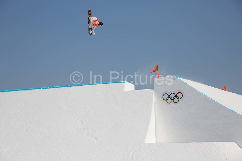 Jamie Anderson, USA, during the snowboard slopestyle practice on the 8th February 2018 at Phoenix Snow Park for the Pyeongchang 2018 Winter Olympics in South Korea