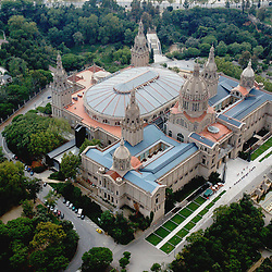 Aerial view of Mont Juic Barcelona's Olympic Stadiums and Cathedral