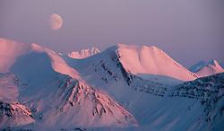 Bellsund in Spitsbergen, Svalbard with moon