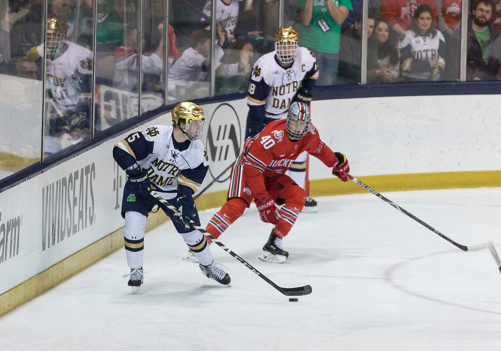 March 17, 2018:  Notre Dame defenseman Matt Hellickson (5) controls the puck as Ohio State forward Ronnie Hein (40) defends during NCAA Hockey game action between the Notre Dame Fighting Irish and the Ohio State Buckeyes at Compton Family Ice Arena in South Bend, Indiana.  Notre Dame defeated Ohio State 3-2 in overtime.  John Mersits/CSM