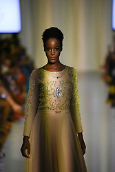 August 18, 2017 - Toronto, Ontario, Canada - A model showcasing  clothes of designer  ''Wifey Collection'' during the African Fashion Week in Toronto, Canada on 18 August 2017. (Credit Image: © Arindam Shivaani/NurPhoto via ZUMA Press)