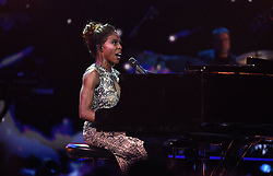 Laura Mvula performs at the Royal Albert Hall in London for a star-studded concert to celebrate the Queen's 92nd birthday.