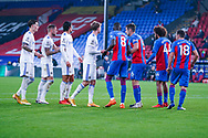 Leeds United and Crystal Palace players line up on a corner during the Premier League match between Crystal Palace and Leeds United at Selhurst Park, London, England on 7 November 2020.