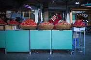 Strawberries displayed by a street vendor, downtown of Da Lat, Vietnam, Southeast Asia