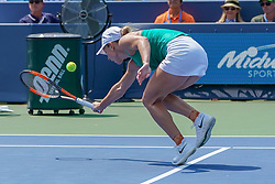 August 19, 2018 - Mason, Ohio, USA - Simona Halep (ROU) tries to reach a shot at the net during Sunday's final round of the Western and Southern Open at the Lindner Family Tennis Center, Mason, Oh. (Credit Image: © Scott Stuart via ZUMA Wire)