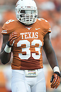 AUSTIN, TX - AUGUST 31: Steve Edmond #33 of the Texas Longhorns looks on against the New Mexico State Aggies on August 31, 2013 at Darrell K Royal-Texas Memorial Stadium in Austin, Texas.  (Photo by Cooper Neill/Getty Images) *** Local Caption *** Steve Edmond