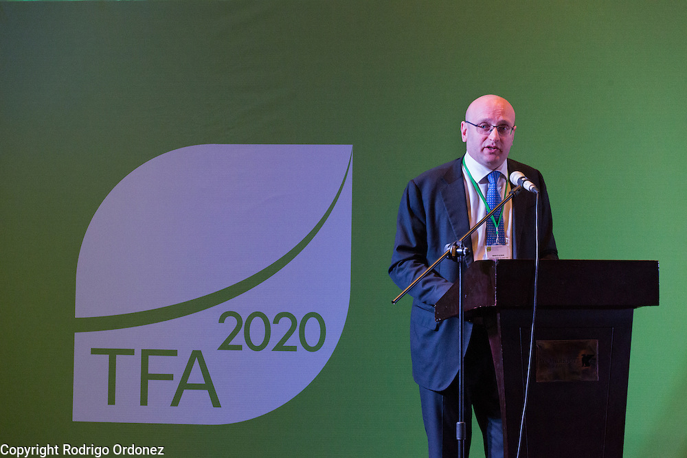 Marco Albani, Director of the Tropical Forest Alliance 2020 at the World Economic Forum, delivers the welcome address during the opening session of the General Assembly of the Tropical Forest Alliance 2020 in Jakarta, Indonesia, on March 10, 2016. <br /> (Photo: Rodrigo Ordonez)