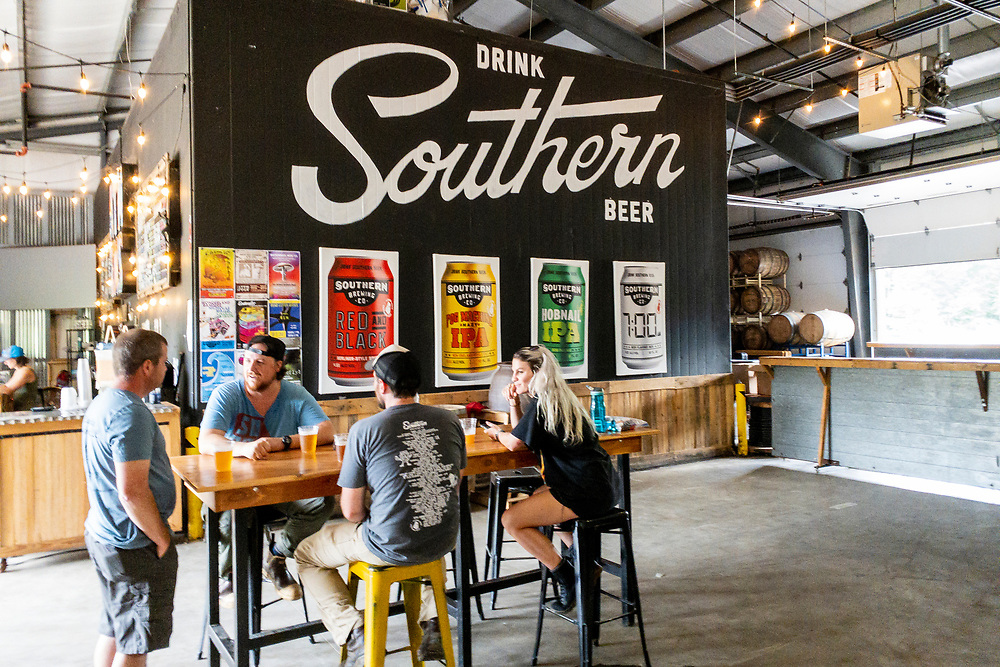 Indoor seating at Southern Brewing Company in Athens, Georgia on Wednesday, July 14, 2021. Copyright 2021 Jason Barnette