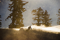 Skiing on a moody day, Alpine Meadows, Lake Tahoe, California