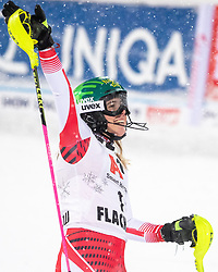08.01.2019, Hermann Maier Weltcupstrecke, Flachau, AUT, FIS Weltcup Ski Alpin, Slalom, Damen, 2. Lauf, im Bild Katharina Liensberger (AUT, 3. Platz) // third placed Katharina Liensberger of Austria reacts after her 2nd run of ladie's Slalom of FIS ski alpine world cup at the Hermann Maier Weltcupstrecke in Flachau, Austria on 2019/01/08. EXPA Pictures © 2019, PhotoCredit: EXPA/ Johann Groder