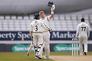 Yorkshire Batsman Joe Root celebrates his 200 double century  during the Specsavers County Champ Div 1 match between Yorkshire County Cricket Club and Surrey County Cricket Club at Headingley Stadium, Headingley, United Kingdom on 10 May 2016. Photo by Simon Davies.