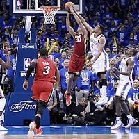 12 June 2012:  Oklahoma City Thunder shooting guard Thabo Sefolosha (2) blocks Miami Heat small forward Shane Battier (31) during the Oklahoma City Thunder 105-94 victory over the Miami Heat, in Game 1 of the 2012 NBA Finals, at the Chesapeake Energy Arena, Oklahoma City, Oklahoma, USA.
