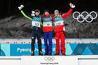 PYEONGCHANG,SOUTH KOREA,15.FEB.18 - OLYMPICS,BIATHLON - Olympic Winter Games PyeongChang 2018, 20km men. Image shows Jakov Fak (SLO), Johannes Thingnes Bø (NOR) and Dominik Landertinger (AUT). <br /> <br /> Norway only