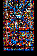 Medieval stained glass Window of the Gothic Cathedral of Chartres, France - dedicated to the Life of St Mary Magdalen. Bottom central panel - bottom left - Mary washing Christ's feet in the house of Simon the Pharisee, bottom right - Death of Lazarus, top left - Their neighbours try to console Mary and Martha, top right - Funeral of Lazarus. Diamond panel above and side panels either side - Christ raising Lazarus. A UNESCO World Heritage Site.. .<br /> <br /> Visit our MEDIEVAL ART PHOTO COLLECTIONS for more   photos  to download or buy as prints https://funkystock.photoshelter.com/gallery-collection/Medieval-Middle-Ages-Art-Artefacts-Antiquities-Pictures-Images-of/C0000YpKXiAHnG2k