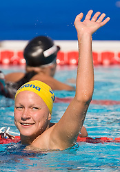 Sarah Sjostrom of Sweden after she made a new world record in the Women's 100m Butterfly Heats during the 13th FINA World Championships Roma 2009, on July 26, 2009, at the Stadio del Nuoto,  in Foro Italico, Rome, Italy. (Photo by Vid Ponikvar / Sportida)