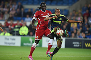 Kenwyne Jones of Cardiff city (l) challenges Emilio Nsue of Middlesbrough (r).Skybet football league championship match, Cardiff city v Middlesbrough at the Cardiff city stadium in Cardiff, South Wales on Tuesday 16th Sept 2014<br /> pic by Andrew Orchard, Andrew Orchard sports photography.