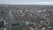 Aerial Photos of Dublin city Centre During Travel Restrictions, 3-4-20, 3rd March 2020, Covid 19, Friday Morning, Rush Hour, showing almost, Empty Streets, as people, curtail all but essential movement, Ireland, and Irish are doing their best to reduce risk to others, liffey, GPO, Spire, O'Connell St, Bridge, Halfpenny, Photos, Photo, Snap, Streets, Street,