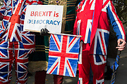 On the day that the UK was scheduled to leave the European Union and political parties commence campaigning for the General Election on December 12th, Brexiters voice their anger outside the British parliament in Westminster, on 31st October 2019, in London, England.