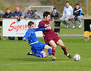 Man of the match Paul Scully Galway caught by Arran Barry Wicklow  in Drom in  the Youths Cup final . Phorto : Andrew Downes
