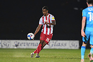 Stevenage defender Terence Vancooten(15)  plays a pass during the EFL Sky Bet League 2 match between Stevenage and Cheltenham Town at the Lamex Stadium, Stevenage, England on 20 April 2021.