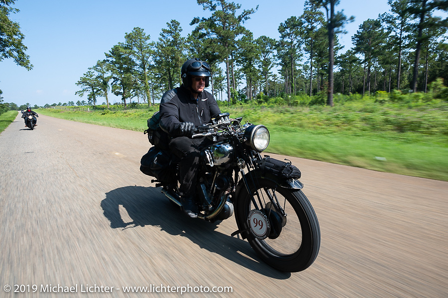 Todd Cameron riding his 1930 BSA Sloper in memory of his Grandfather, JD John Cameron, a motorcycle racer, restorer and founding member of the Boozefighters MC, to a first place win in the Cross Country Chase motorcycle endurance run from Sault Sainte Marie, MI to Key West, FL. (for vintage bikes from 1930-1948). Stage-7 covered 249 miles from Macon, GA to Tallahassee, FL USA. Thursday, September 12, 2019. Photography ©2019 Michael Lichter.