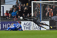 Jamal Blackman (21) of Bristol Rovers makes a save during the EFL Sky Bet League 1 match between Bristol Rovers and Blackpool at the Memorial Stadium, Bristol, England on 15 February 2020.