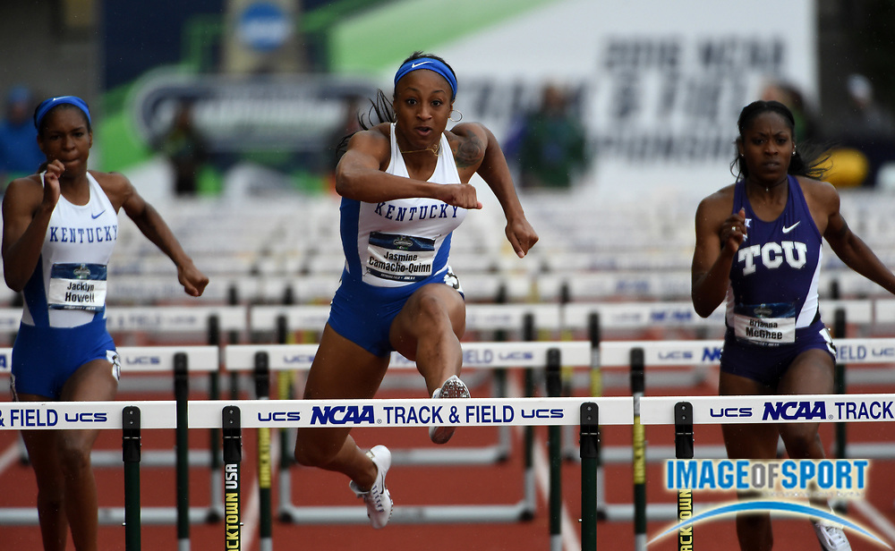 Jun 9, 2016; Eugene, OR, USA; Jasmine Camacho-Quinn of Kentucky wins women's 100m hurdles semifinal in 12.75 for the top time during the 2016 NCAA Track and Field championships at Hayward Field.