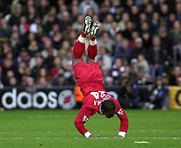 Picture: Henry Browne.<br />Date: 02/11/2003.<br />Fulham v Liverpool  FA Barclaycard Premiership.<br />Florent Sinema - Pongolle of Liverpool is sent flying by a challenge by Luis Boa Morte who got sent off for it