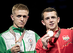 Left to right Northern Ireland's Kurt Walker (sliver) and England's Peter McGrail (gold) during the Men's Bantam (56kg) final at Oxenford Studios during day ten of the 2018 Commonwealth Games in the Gold Coast, Australia.