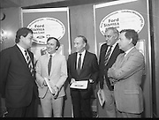 "Ford Siamsa Cois Laoi..1985..17.06.1985..06.17.1985..17th June 1985..At a press luncheon in Dublin, the names of the forthcoming artists for the Siamsa Cois Laoi music festival were announced. The artists include,. Kris Kristofferson,Louden Wainwright III,.Stocktons Wing and The Wolfe Tones..The Ford sponsored festival takes place in Parc Ui Chaoimh,Cork City,on the 28th of July.This is the second year of a three year sponsorship deal.It is hoped that after the success of last years'event that this year will be bigger and better than ever..Mr Kieven,Chairman and M.D. of Ford Ireland stated ""The 1984 Ford Siamsa was Ford's first association with Ireland's Premier Folk Music Festival..Ford were very pleased with the outstanding success that was achieved and that the friendly co-operation of everyone involved helped to ensure a memorable day""...Pictured at the announcement of the feature artists were,.Mr Hartmut Kieven,Chairman and Managing Director,Ford Ireland,Mr Frank Murphy,Secretary,Cork County Board,Mr Con Murphy, Chairman,Cork County Board,Mr Donal O'Sullivan,Chairman,Parc Ui Chaoimh,Grounds committee and Mr Oliver Barry the event promoter...Parc Ui Chaoimh is the GAA home of Cork Football and Hurling."