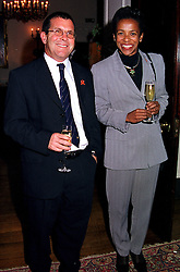 The High Commissioner for the Republic of South Africa H.E.MS.CHERYL CAROLUS and her husband MR GRAEME BLOCH at a reception in London on 9th November 2000.OIX 52