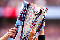 The Sky Bet Championship Playoff Final Trophy draped in the Aston Villa colours after their victory over Derby County in the Final - Mandatory by-line: Robbie Stephenson/JMP - 27/05/2019 - FOOTBALL - Wembley Stadium - London, England - Aston Villa v Derby County - Sky Bet Championship Play-off Final