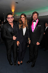 Left to right, BONO, YASMIN LE BON and SIMON LE BON at the GQ Men of the Year 2011 Awards dinner held at The Royal Opera House, Covent Garden, London on 6th September 2011.