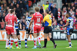 Referee Tim Wigglesworth issues Mike Tindall (Gloucester) a yellow card for cynical play - Photo mandatory by-line: Patrick Khachfe/JMP - Tel: Mobile: 07966 386802 12/04/2014 - SPORT - RUGBY UNION - Kingsholm Stadium, Gloucester - Gloucester Rugby v Bath Rugby - Aviva Premiership.