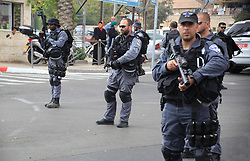 10.10.2015, Jerusalem, ISR, Gewalt zwischen Palästinensern und Israelis, im Bild Zusammenstösse zwischen Palästinensischen Demonstranten und Israelischen Sicherheitskräfte // Israeli policemen secure the area where a Palestinian stabbed two Israeli Jews before he was shot dead outside Jerusalem's Old City October 10, 2015. Israeli forces shot dead two Palestinian assailants in East Jerusalem on Saturday, one of whom had stabbed two Israelis, police said, in a wave of violence that has raised concerns about a new Palestinian uprising. Police said two ultra-Orthodox Jewish men were wounded in the attack near Jerusalem's walled Old City. Earlier, paramilitary police shot dead a militant who had opened fire at them during late-night clashes at the Palestinian refugee camp Shuafat, police said, Israel on 2015/10/10. EXPA Pictures © 2015, PhotoCredit: EXPA/ APAimages/ Mahfouz Abu Turk<br /> <br /> *****ATTENTION - for AUT, GER, SUI, ITA, POL, CRO, SRB only*****