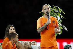 (L-R) Jessey Sneijder, Yolanthe Sneijder-Cabau, Wesley Sneijder of Holland during the International friendly match match between The Netherlands and Peru at the Johan Cruijff Arena on September 06, 2018 in Amsterdam, The Netherlands