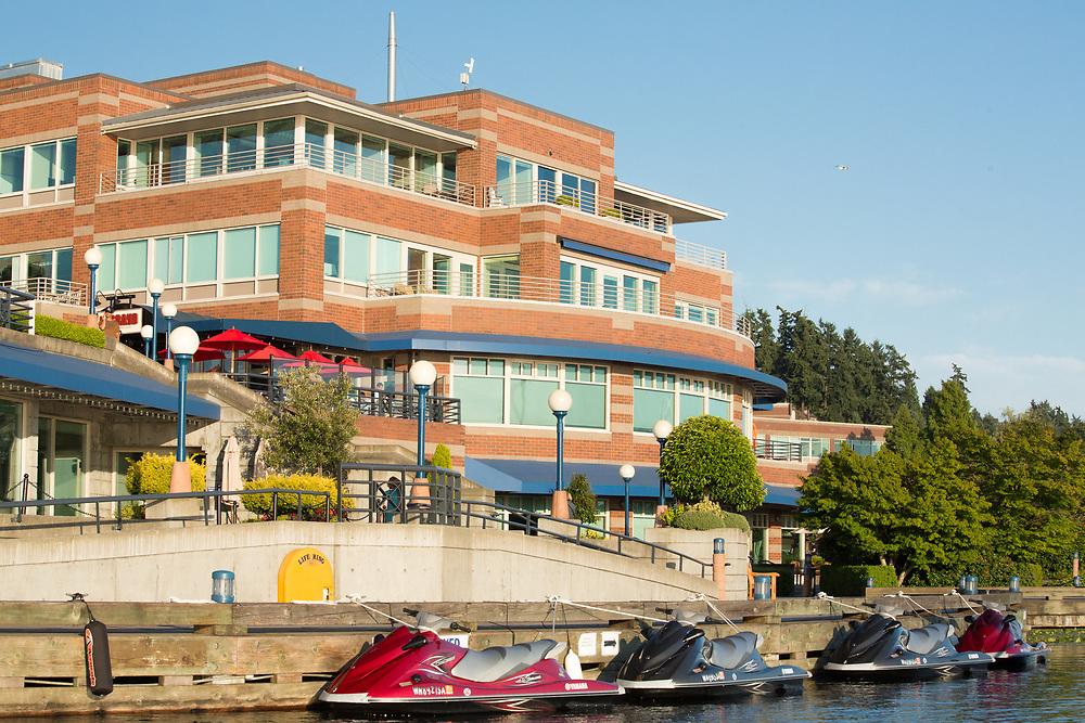 United States, Washington, Kirkland, Carillon Point waterfront on Lake Washington