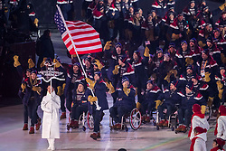 March 9, 2018 - Pyeongchang, U.S. - 09-03-2018 Pyeongchang, Korea ..Sport..Opening Ceremony of Pyeongchang 2018 Paralympic Games...In the photo: The USA team  led by the flag-bearer Mike SCHULTZ (Photo by Mauro Ujetto/LaPresse/Icon Sportswire) ****NO AGENTS---NORTH AND SOUTH AMERICA SALES ONLY****NO AGENTS---NORTH AND SOUTH AMERICA SALES ONLY* (Credit Image: © Mauro Ujetto/Icon SMI via ZUMA Press)