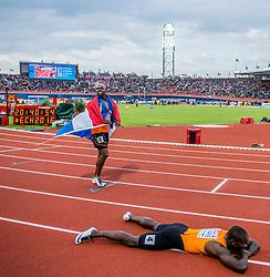 08-07-2016 NED: European Athletics Championships day 3, Amsterdam<br /> Geen goud voor Churandy Martina op de 200 meter, want de sprinter wordt gediskwalificeerd. Solomon Bockarie eindigt als vijfde.