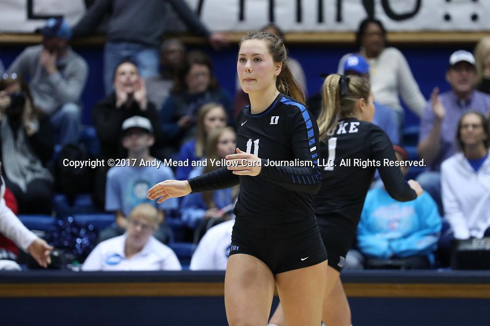 DURHAM, NC - NOVEMBER 24: Duke's Payton Schwantz. The Duke University Blue Devils hosted the University of North Carolina Tar Heels on November 24, 2017 at Cameron Indoor Stadium in Durham, NC in a Division I women's college volleyball match. Duke won 3-0 (25-21, 25-22, 25-20).