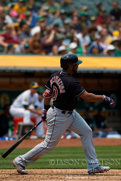 OAKLAND, CA - JULY 01:  Edwin Encarnacion #10 of the Cleveland Indians at bat against the Oakland Athletics during the third inning at the Oakland Coliseum on July 1, 2018 in Oakland, California. The Cleveland Indians defeated the Oakland Athletics 15-3. (Photo by Jason O. Watson/Getty Images) *** Local Caption *** Edwin Encarnacion